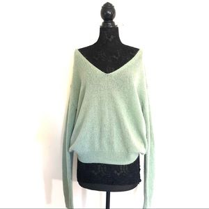 Free People Oversized Mint V Neck Pullover Sweater